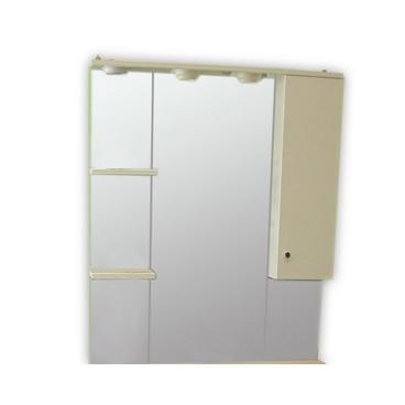 Espelho com 100 cm Clio branco com módulo e prateleira