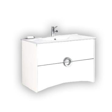 Móvel Giani com 100 cm branco suspenso lacado (lavatório e torneira não inlcuídos)