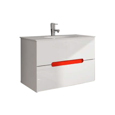 Móvel Maia com 80 cm branco suspenso lacado (lavatório e torneira não inlcuídos)
