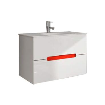 Móvel Maia com 100 cm branco suspenso lacado (lavatório e torneira não inlcuídos)
