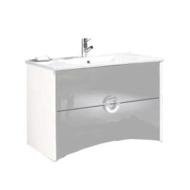 Móvel Giani com 80 cm branco, gavetas em cinza suspenso lacado