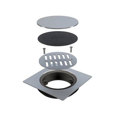 Grelha de chão 15*15 cm Inox AISI 304 para tubos 110/125 mm, com válvula anti odores, Bonomini