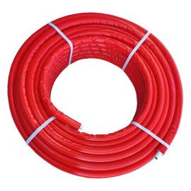 Tubo multicamada 25 x 2,5 mm com isolamento vermelho (6-7 mm), em rolo, Tuboflux
