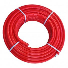 Tubo multicamada 20 x 2,0 mm com isolamento vermelho (10 mm), em rolo, Tuboflux