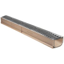 Canal de betão polímero Eurokit, com grelha galvanizada, em módulos de 1 m(largura 120 mm, altura 85 mm), classe de carga A15